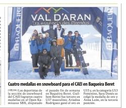Cuatro medallas en snowboard para el CAEI en Baqueira