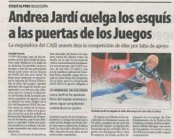 Andrea Jardí cuelga los esquís a las puertas de los Juegos